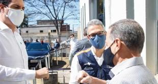 Tito Torres, o governador Romeu Zema e o prefeito de Itabira, Ronaldo Magalhães